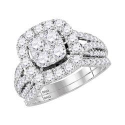 14kt White Gold Round Diamond Bridal Wedding Ring Band Set 2 Cttw