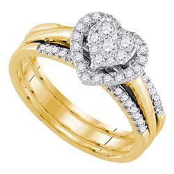 14kt Yellow Gold Diamond Heart Bridal Wedding Ring Band Set 1/2 Cttw