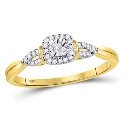 14kt Yellow Gold Princess Diamond Solitaire Bridal Wedding Engagement Ring 1/10 Cttw