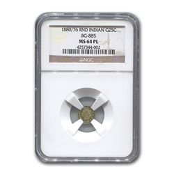 1880/76 Indian Round 25¢ Gold MS-64 NGC (PL, BG-885