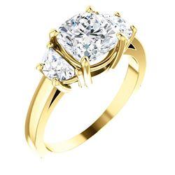 Natural 3.02 CTW Cushion Cut & Half Moons 3-stone Diamond Ring 14KT Yellow Gold