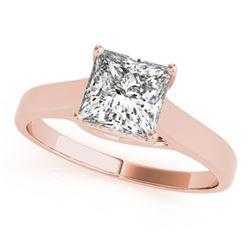 Natural 0.75 ctw Princess Diamond Ring 14k Rose Gold