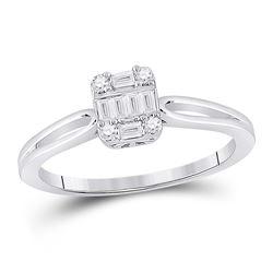 14kt White Gold Womens Baguette Diamond Cluster Ring 1/5 Cttw