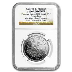 1 oz Platinum $100 Union George T. Morgan NGC UCAM