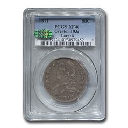 1811 Capped Bust Half Dollar XF-40 PCGS CAC (O-103a Large 8)