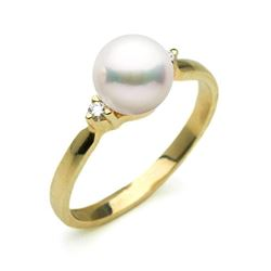 White Akoya Pearl and 2-Diamond Sweetheart Ring, 7.0-7.5mm, 14K Gold