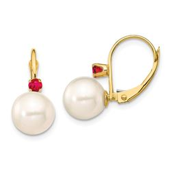 14k Yellow Gold White Pearl Ruby Leverback Earrings - 8-8.5 mm