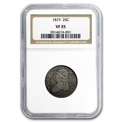 1819 Capped Bust Quarter VF-35 NGC (Large 9)