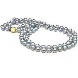 Natural-Color Baroque Blue Akoya Double-Strand Pearl Necklace
