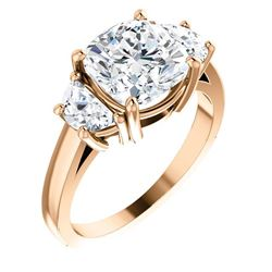 Natural 3.92 CTW Cushion Cut Diamond 3-Stone Diamond Ring 14KT Rose Gold
