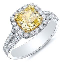 Natural 2.62 CTW Canary Cushion Cut U-Setting Split Shank Diamond Ring 18KT Two-tone