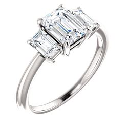 Natural 3.02 CTW 3-Stone Emerald Cut Diamond Engagement Ring 14KT White Gold