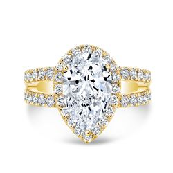 Natural 4.42 CTW Pear Cut Split Shank Diamond Engagement Ring 14KT Yellow Gold