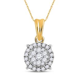 14kt Yellow Gold Womens Round Diamond Circle Halo Cluster Pendant 1/4 Cttw