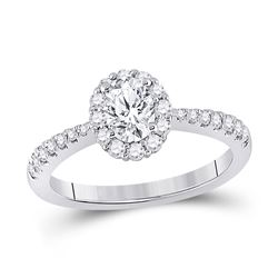 14kt White Gold Oval Diamond Halo Bridal Wedding Engagement Ring 1 Cttw