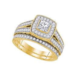 14kt Yellow Gold Diamond Princess Halo Bridal Wedding Ring Band Set 1-1/4 Cttw