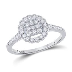 14kt White Gold Womens Round Diamond Circle Cluster Ring 3/8 Cttw