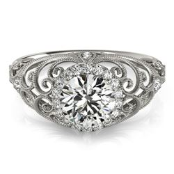 Natural 1.22 ctw Diamond Halo Ring 14k White Gold