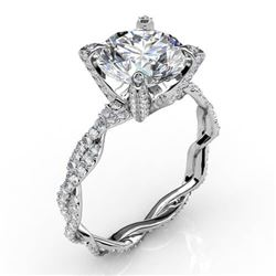 Natural 3.57 CTW Round Cut Diamond Infinity Engagement Ring 14KT White Gold