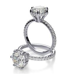 Natural 3.02 CTW Round Cut 6-Prong Side halo Diamond Engagement Ring 14KT White Gold