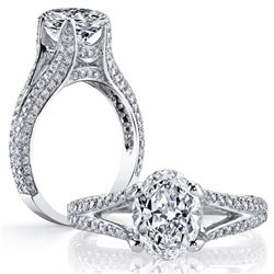 Natural 3.02 CTW Oval Cut Diamond Split Shank Engagement Ring 14KT White Gold