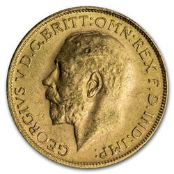 1925-1932 SA South Africa Gold Sovereign George V BU (Large bust)
