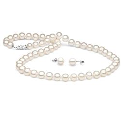 White Freshwater Pearl 2-Piece Necklace and Earring Set, 7.5-8.0mm