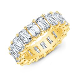 Natural 7.02 CTW Emerald Cut Diamond Eternity Ring 18KT Yellow Gold