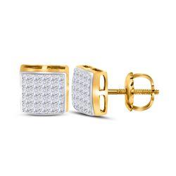 14kt Yellow Gold Womens Princess Diamond Square Earrings 5/8 Cttw