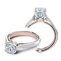 Natural 3.06 CTW Diamond Engagement Halo Ring 18KT Two Tone