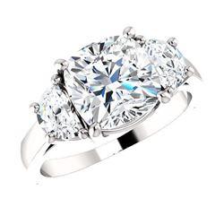 Natural 3.82 CTW Cushion Cut & Half Moons 3-stone Diamond Ring 14KT White Gold