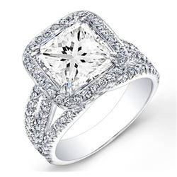 Natural 3.32 CTW Halo Princess Cut Diamond Engagement Ring 18KT White Gold