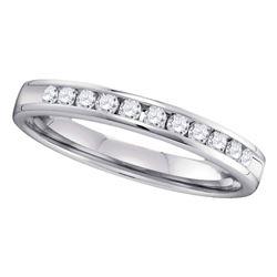 14kt White Gold Womens Round Diamond Slender 2.5mm Wedding Band 1/4 Cttw