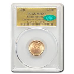 1926 Gold $2.50 America Sesquicentennial MS-65+ PCGS CAC