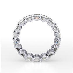 Natural 7.02 CTW Emerald Cut Diamond Eternity Ring 18KT White Gold