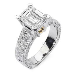 Natural 3.92 CTW Emerald Cut & Princess Diamond Engagement Ring 14KT Two Tone