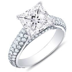 Natural 3.32 CTW Princess Cut Micro Pave Diamond Engagement Ring 18KT White Gold