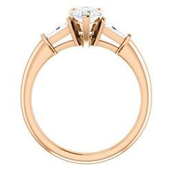 Natural 2.39 CTW Pear Cut & Baguette 3-Stone Diamond Engagement Ring 14KT Rose Gold