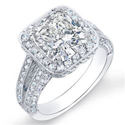 Natural 3.12 CTW Cushion Cut Pave Diamond Halo Engagement Ring 18KT White Gold