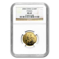 2004 China 1/4 oz Gold Panda MS-69 NGC