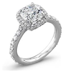 Natural 2.92 CTW Halo Cushion Cut Diamond Engagement Ring 18KT White Gold