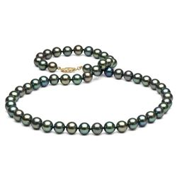 Black Freshwater Pearl Necklace, 7.5-8.0mm