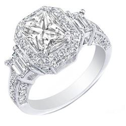 Natural 4.32 CTW Rectangle Radiant Cut Diamond Engagement Ring 18KT White Gold