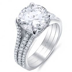 Natural 5.22 CTW Split Shank Round Cut Diamond Engagement Ring 14KT White Gold