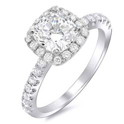 Natural 1.42 CTW Halo Cushion Cut Diamond Engagement Ring 14KT White Gold