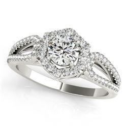 Natural 1.18 ctw Diamond Halo Ring 14k White Gold
