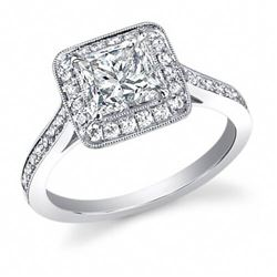 Natural 2.62 CTW Halo Princess Cut Diamond Engagement Ring 14KT White Gold
