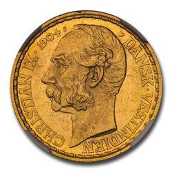 1904 Danish West Indies Gold 4 Daler Christian IX MS-64 NGC