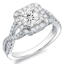 Natural 3.6 CTW Princess Cut Crisscross Diamond Engagement Ring 14KT White Gold