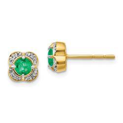 14k Yellow Gold .088ct Diamond & Emerald Fancy Earrings - 7 mm